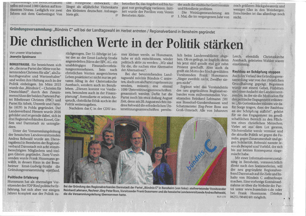 Gründungsversammlung Bensheim